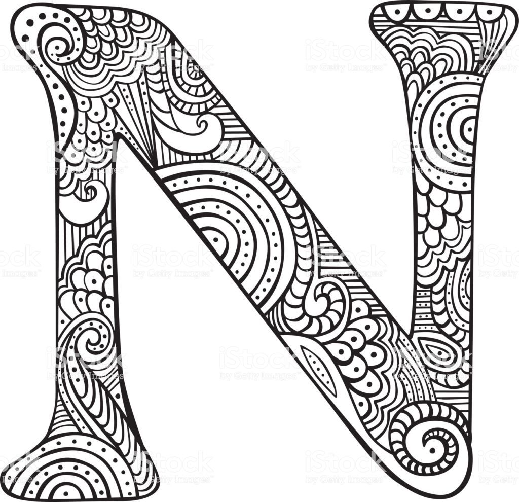 Hand Drawn Capital Letter N In Black