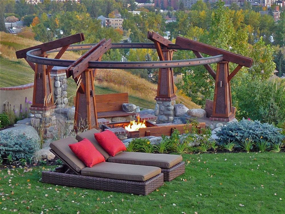 Rosedale residence 1 calgary alberta custom outdoor for Fire pit seating area