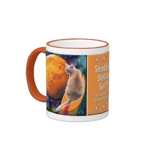 Star Surfer Cat Chili Pepper Ringer Mug. Chili  is in deep space experiencing far out adventures. You will enjoy an adventure in kind when you sip your favorite beverage from her mug. Her fun loving spirit will join you in your leisure time and increase your pleasure. 30% OFF Mugs – Use checkout CODE: MAGNETZNMUGZ 'til Midnite 10-01-16 Over 3000 products at my Zazzle online store. Open 24/7 World wide! http://www.zazzle.com/greg_lloyd_arts*?rf=238198296477835081