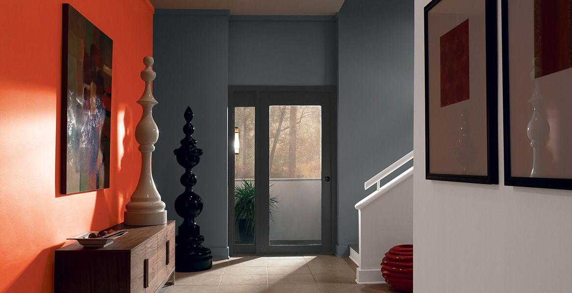 Paint Colors For Foyers behr interiors: dark pewter (ppu18-04) | ultra pure white (1850