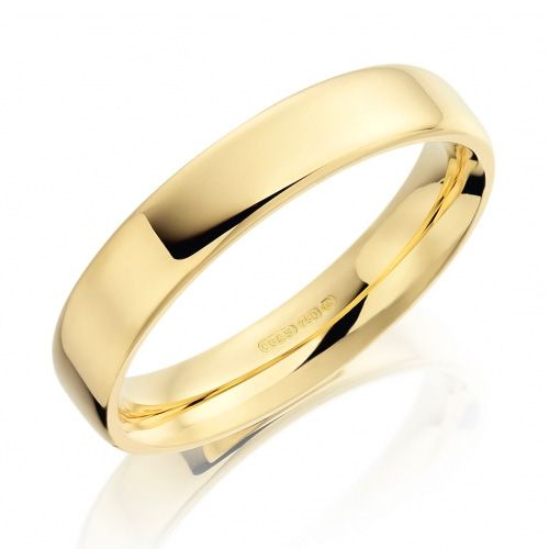 Stylish Flat Polished Soft Edged Wedding Ring 4mm httpwww