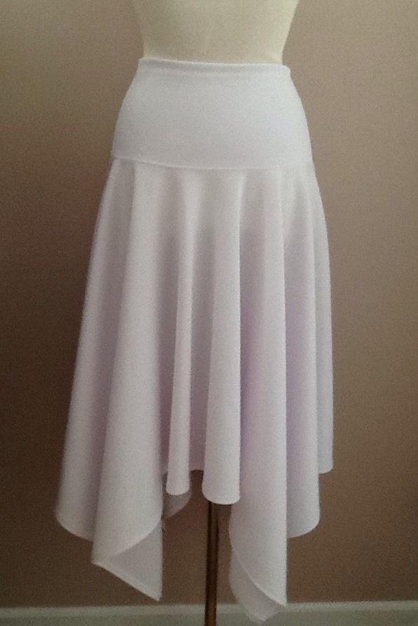 White Asymmetrical Hem Poly Skirt Size 16 #Handmade #Asymmetrical