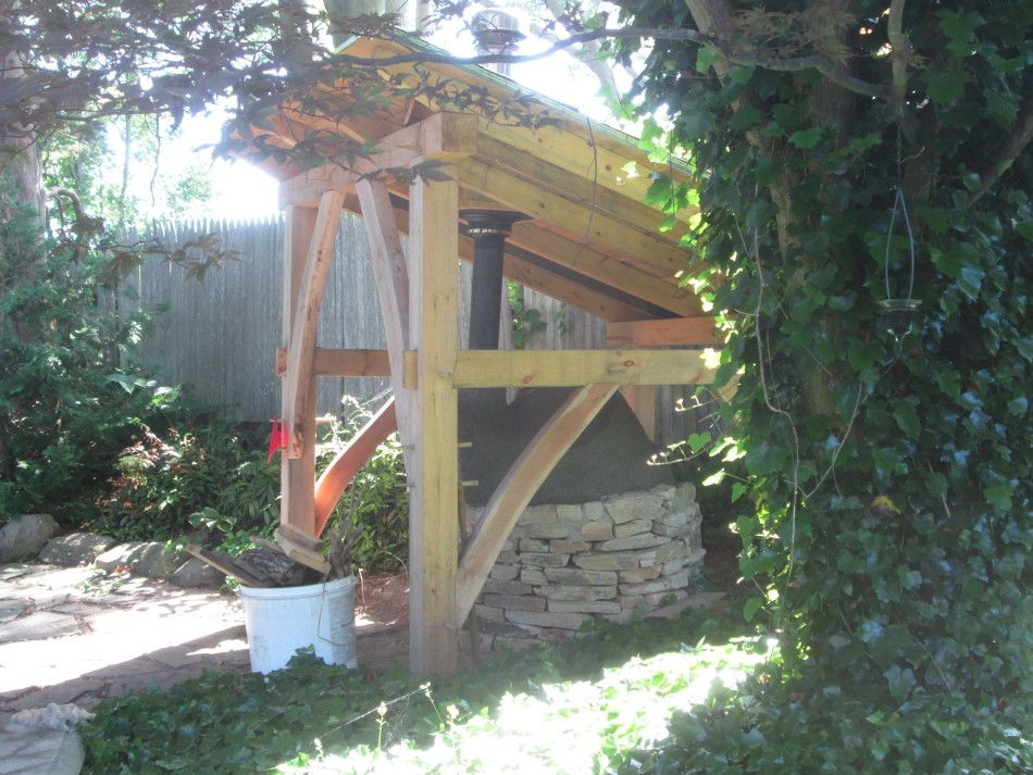 timber frame shelter for earthen pizza oven in Rhode Island