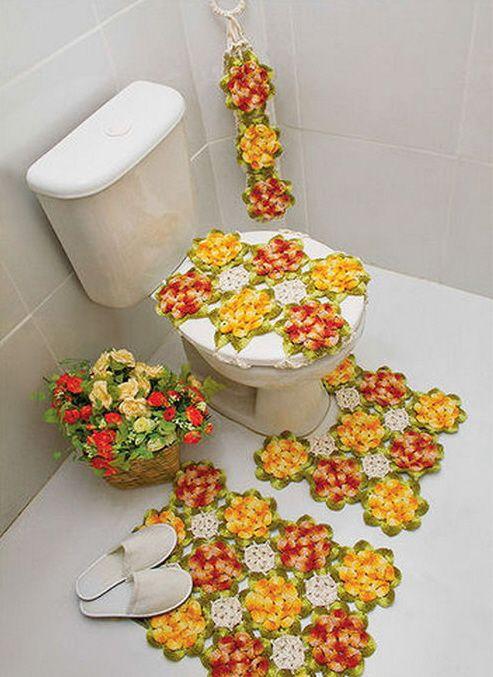 Para a casa de banho ... banheiro conjuntos   CrochetRibArt