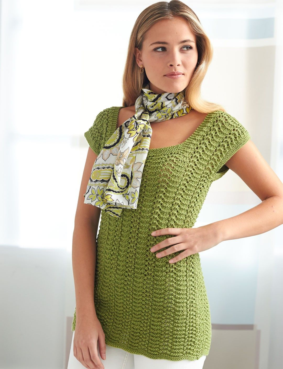 Yarnspirations.com - Patons 4 Row Feather and Fan Top - Patterns ...