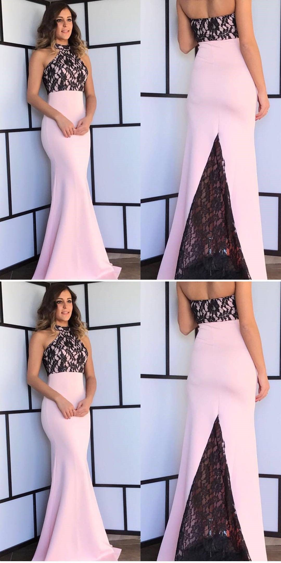 Mermaid halter pink stretch satin prom evening dress with lace