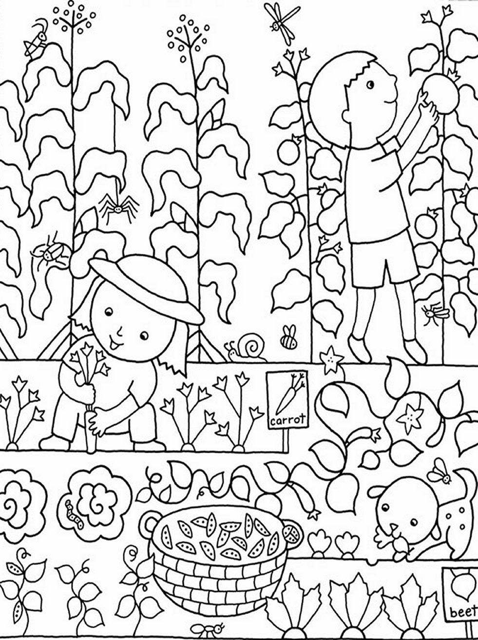 Free coloring pages spring flowers - Kids Gardening Coloring Pages Free Colouring Pictures To Print