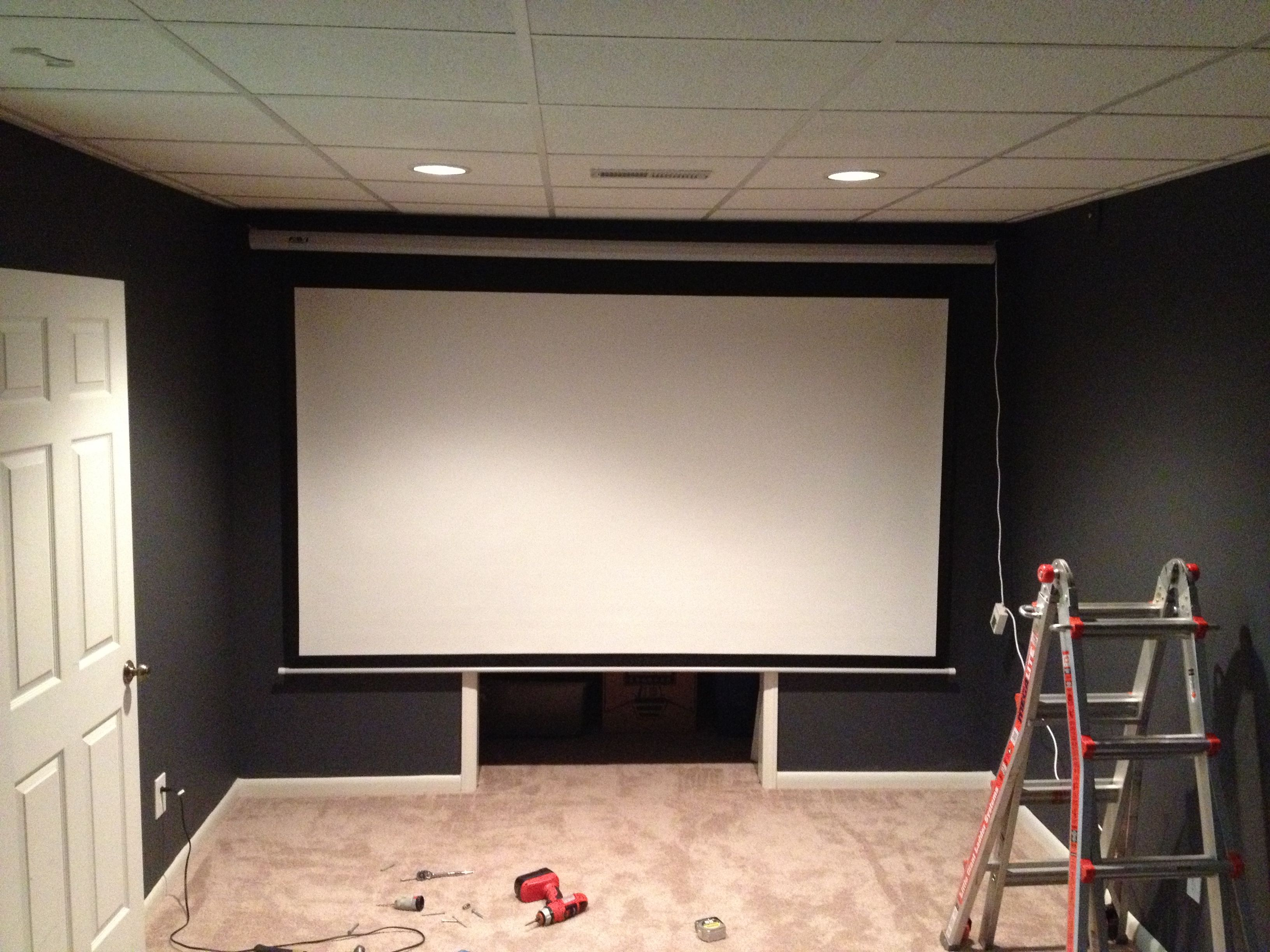Mounting The Projector Screen Favi Hd 120 Inch Electric Screen Home Theater Lighting Home Theater Setup Home