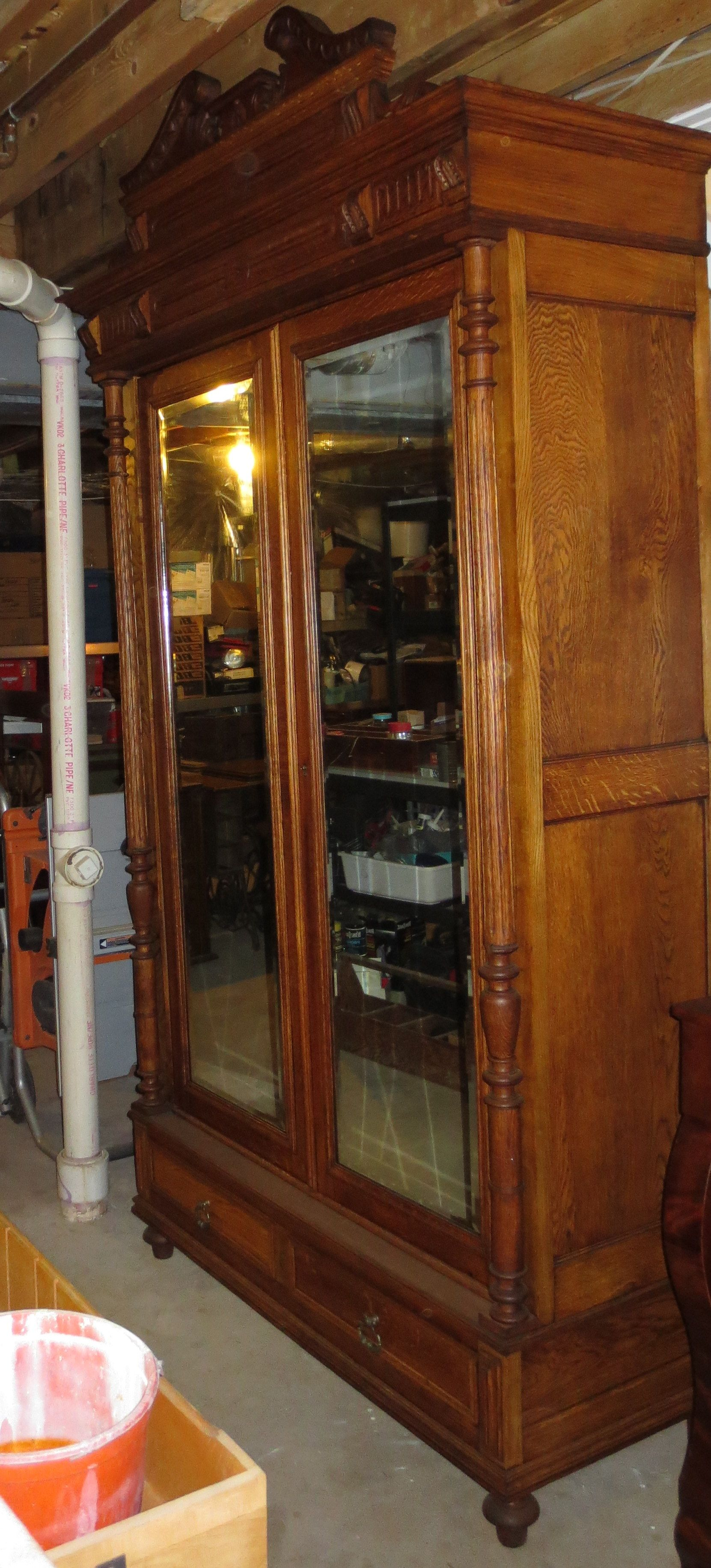 Early 1900s Belgium Oak Armoire With Original Glass Mirrors After Restoration Antique Furniture Restoration Furniture Restoration Projects Furniture Projects