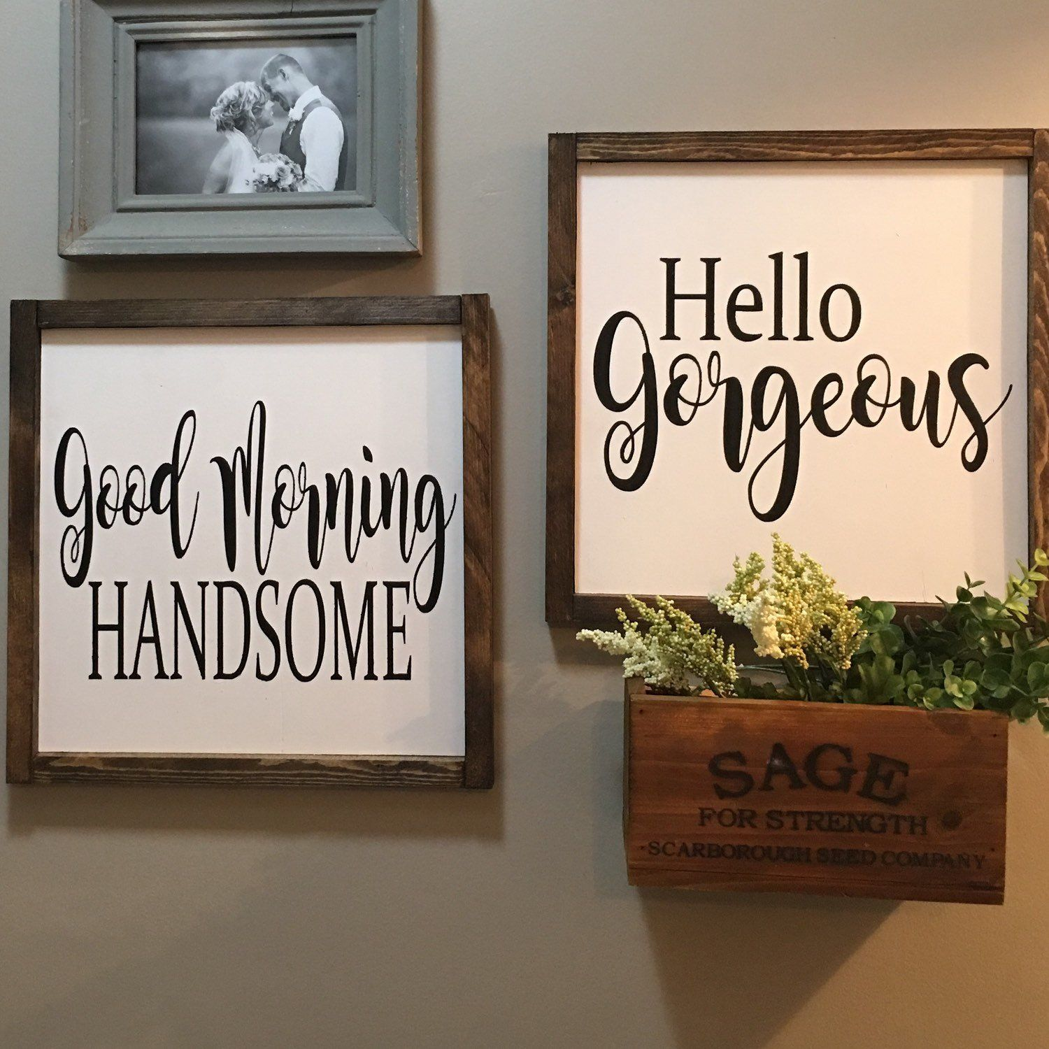 Photo of Good Morning Handsome   Hello Gorgeous  Wood Sign  Hand Painted Wood Sign   Farmhouse Sign   Farmhouse Decor