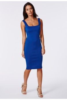 Sanga Scuba Midi Dress Cobalt
