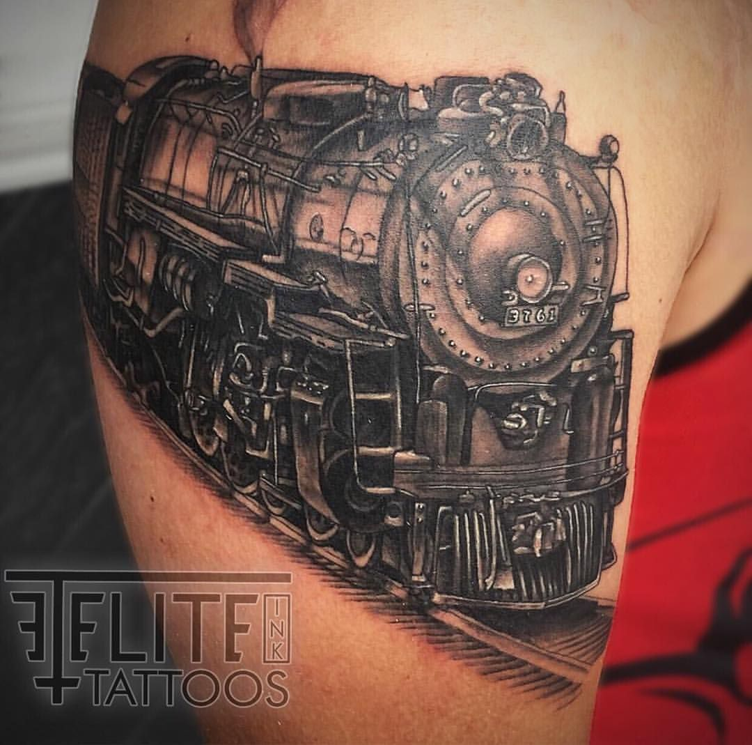 #traintattoo #train #realistictraintattoo #tattooideas #tattoosforguys #tattooedguys #unisextattoos #blackandgreytattoo #amazingtattoos #tattoo by bruce davis @ #eliteinktattoos of #myrtlebeach #southcarolina