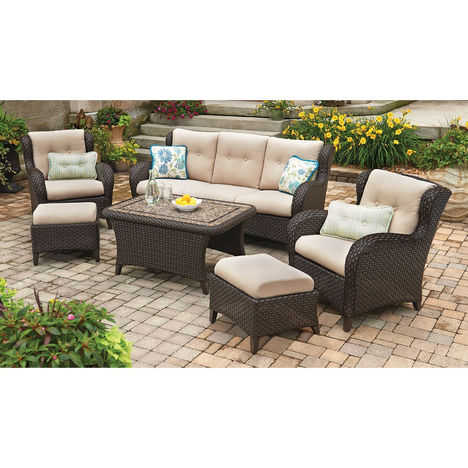 Member's Mark® Heritage 6-Piece Deep Seating Set with Premium Sunbrella®  Fabric - Sam's Club $1699 - Member's Mark® Heritage 6-Piece Deep Seating Set With Premium