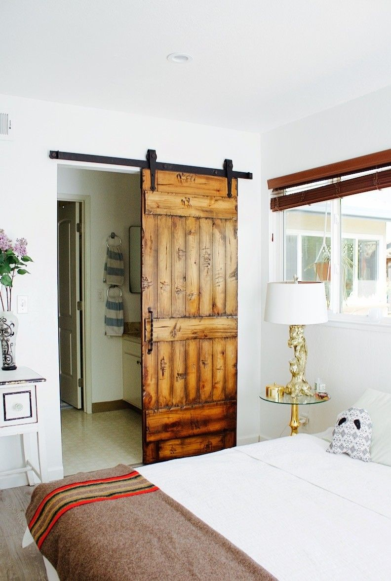 Master bedroom entry doors  Before u After Barn Door Installation  Barn doors Master bedroom