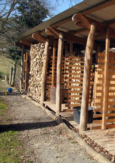 Brennholzschuppen Aus Robinienholz Fachwerk Schuppen Gartenlaube