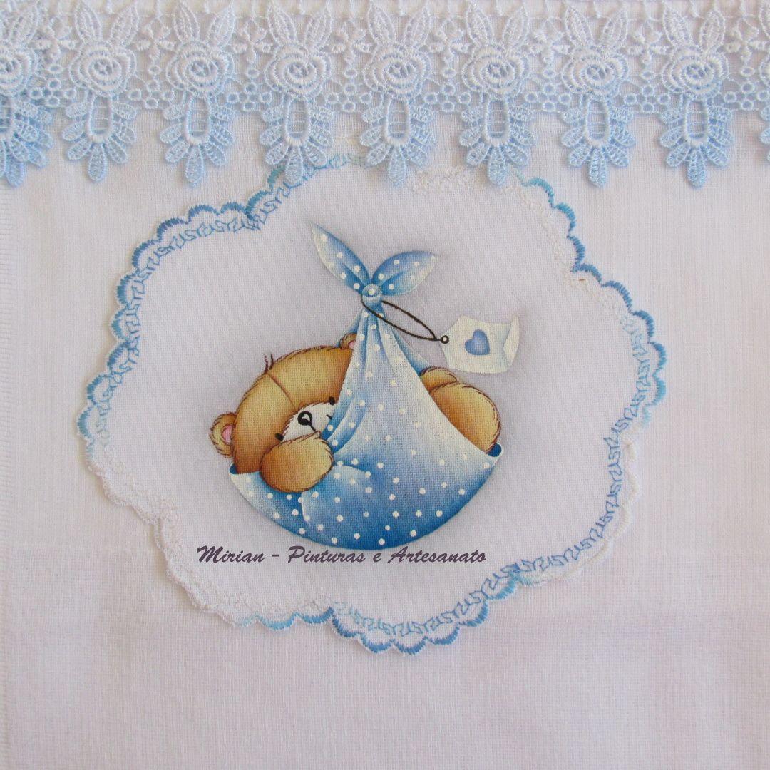 Fralda Passeio - 70 x 70 cm - Fralda Cremer Pinte & Borde / Pintura à mão. * Ursinho - Forever Friends *
