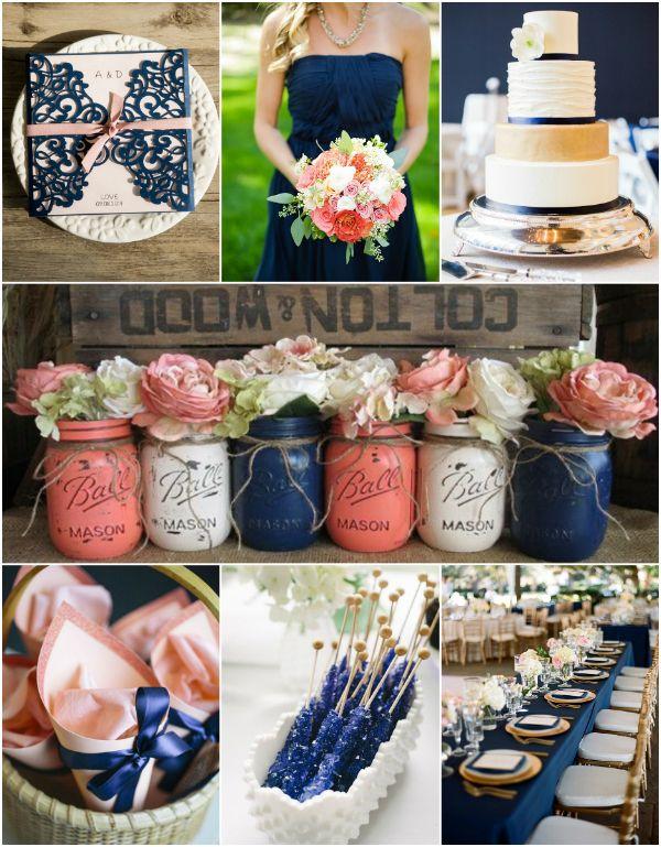 #peach #navyblue #wedding Klassische Peach Und Navy Blaue Hochzeit  Einladungskarte Hochzeitstorte Tischdeko Brautstrauß