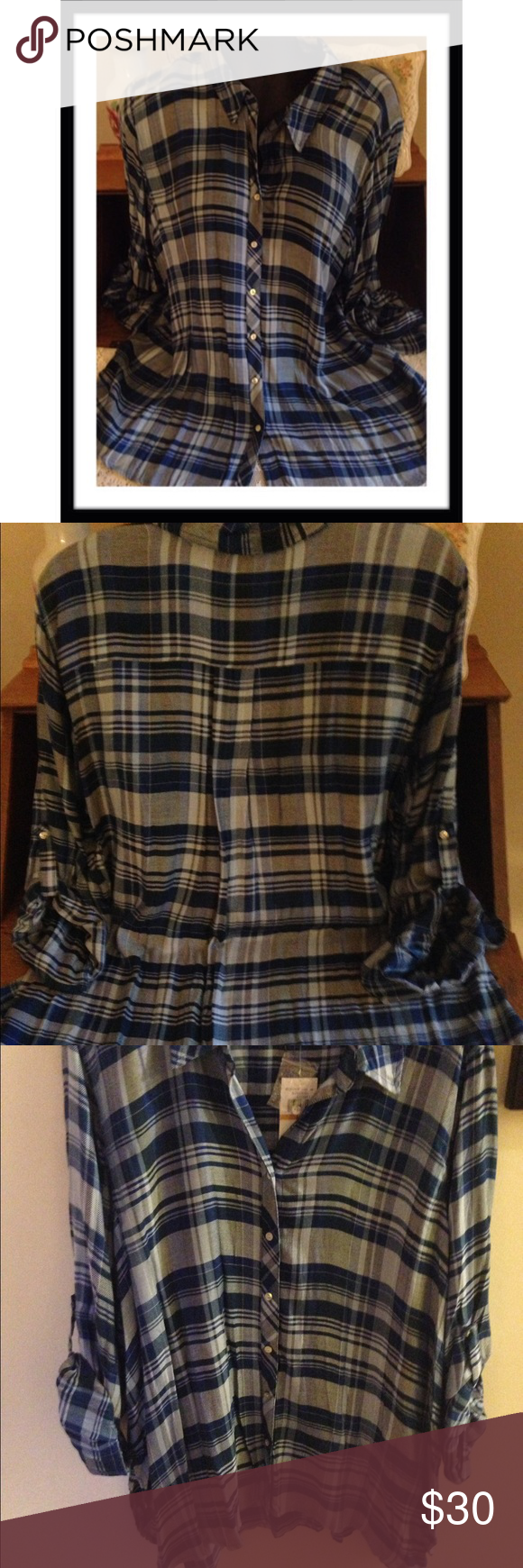 6fa19cc2bb9 GLAD IT S PLAID Cupio brand 100% rayon blouse with placket sleeves that  roll down