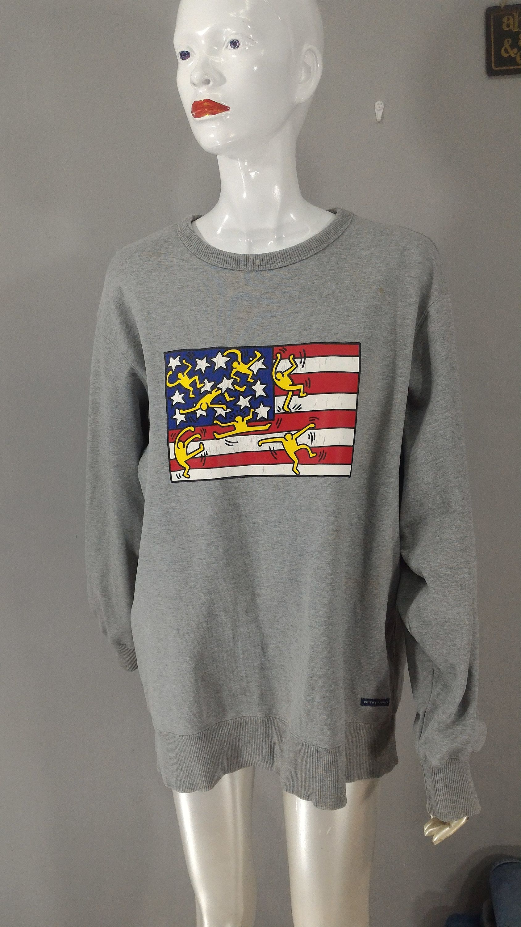 KEITH HARING Sweatshirt American Flag Art Print Grey Color XL Vintage 90s Sweatshirt Pullover Jumper Oversize For Men's and Women's #americanflagart