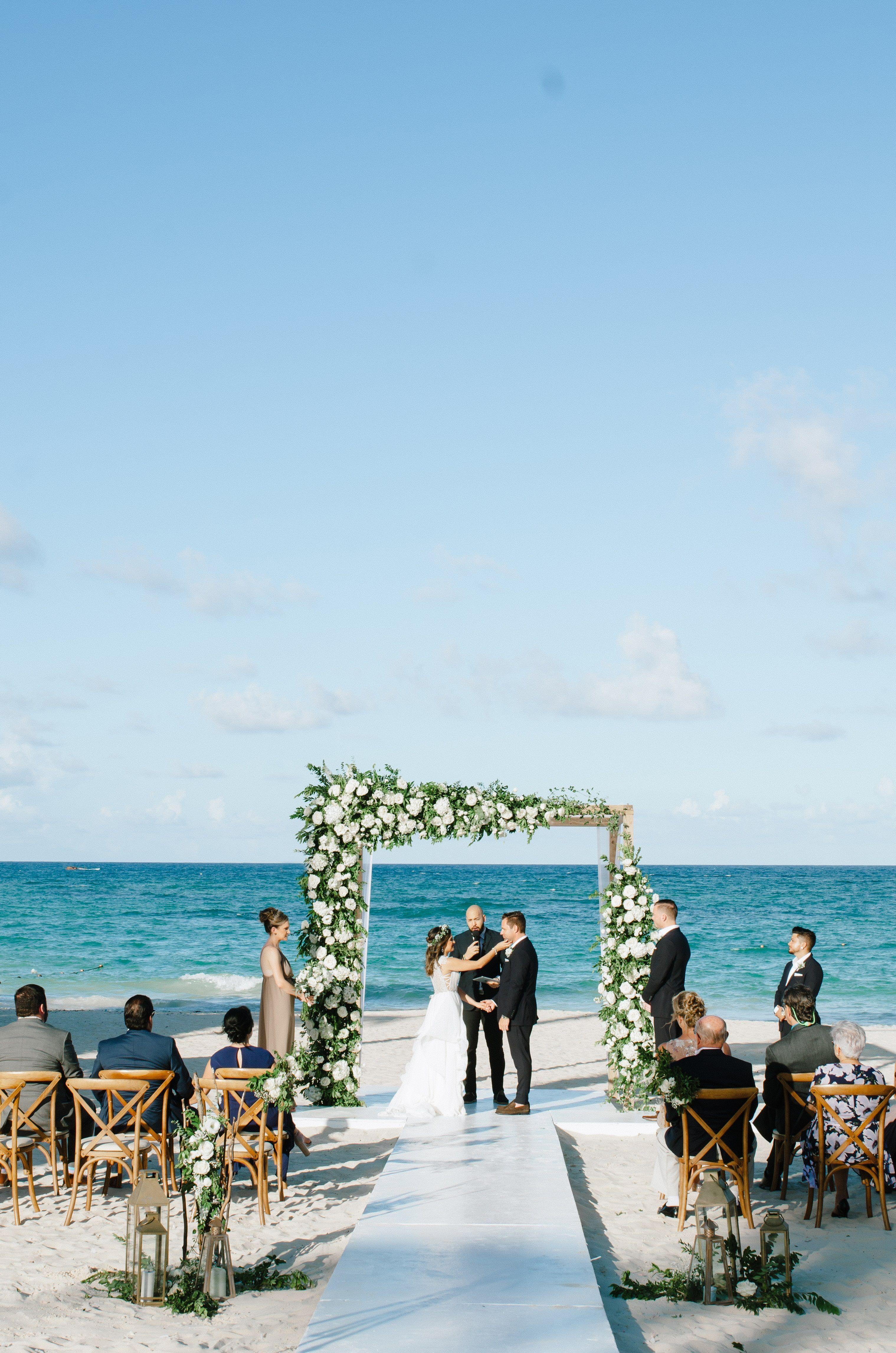 Romantic Beach Wedding Ceremony With Fabulous Wedding Arch Alter