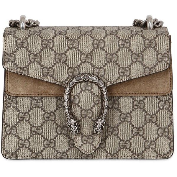 7622489692b8 Gucci Women Mini Dionysus Gg Supreme Shoulder Bag ($1,330) ❤ liked on  Polyvore featuring bags, handbags, shoulder bags, taupe, chain strap purse,  ...