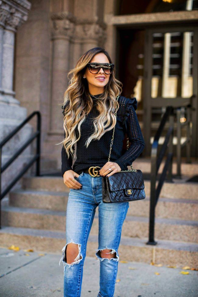 ac403733ae9 Shopping Guide  5 Must-Have Sweater Styles - Nordstrom Black Sweater     Levi s Jeans    Gucci Double G Belt    Nordstrom Black Booties    Celine  Sunglasses ...