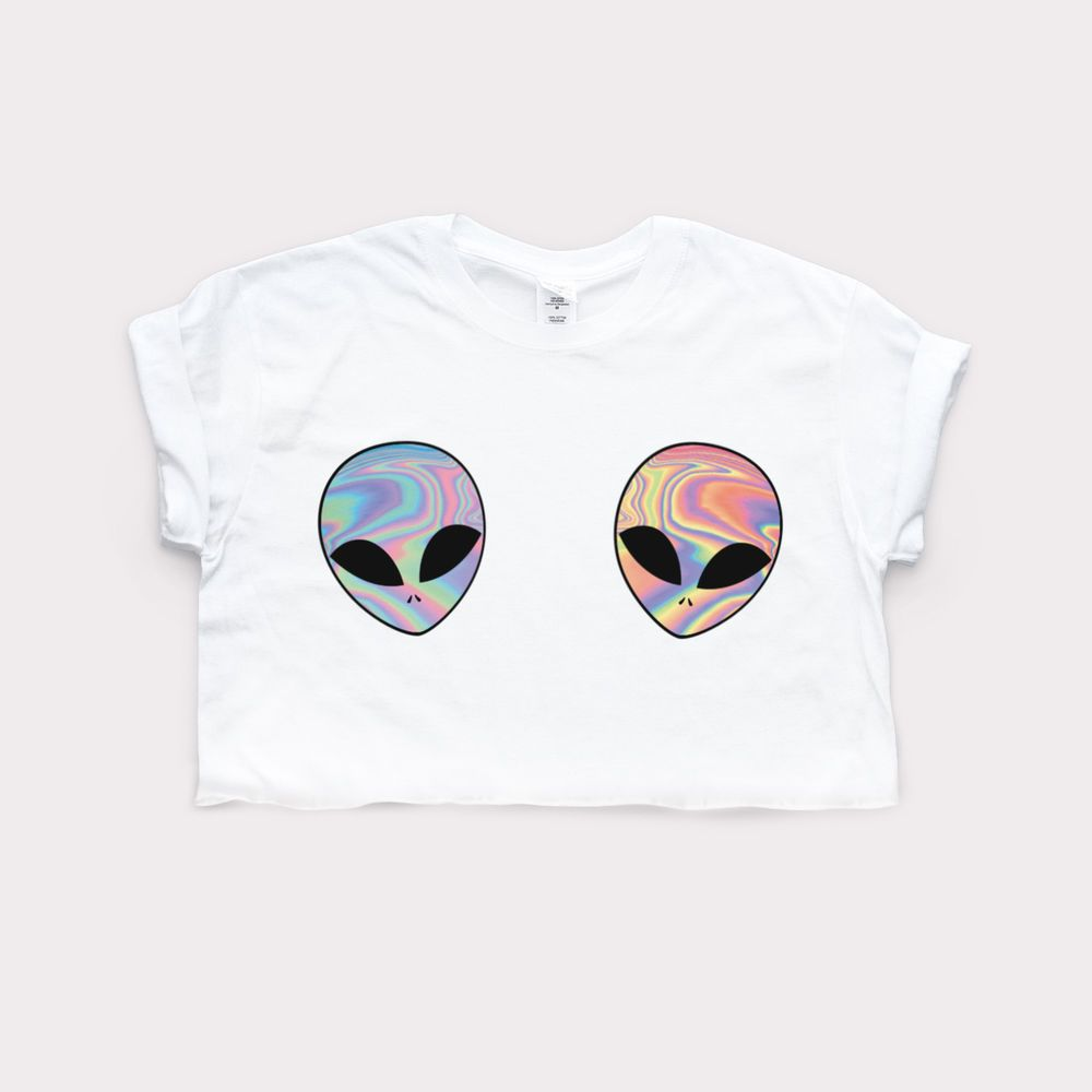 Design your own t shirt ebay - Details About Alien Cute Crop Top Homies Retro Print Swag Tumblr Fashion Hipster 90s Girls Tee