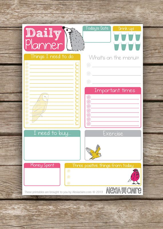 Daily Planner - Cute hand drawn animal illustrated - To do list - day planner