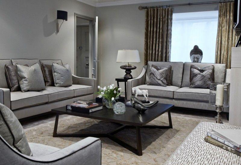 Grey Sofa Black Coffee Table Patterned Area Rug Window Cream