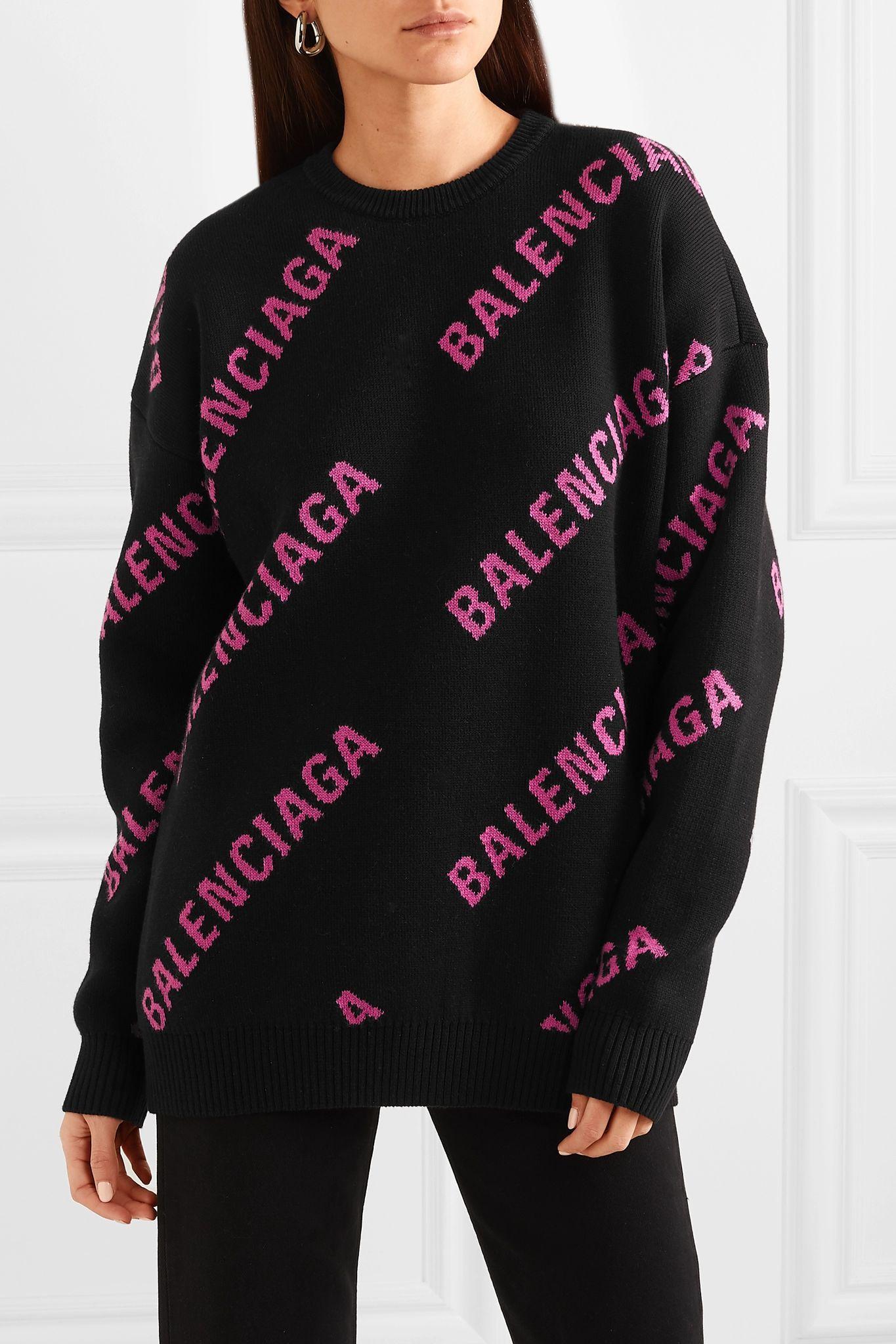 Black Oversized Intarsia Cotton Blend Sweater Balenciaga Net A Porter Sweaters Balenciaga Clothing Fashion Drawing Dresses [ 2048 x 1365 Pixel ]