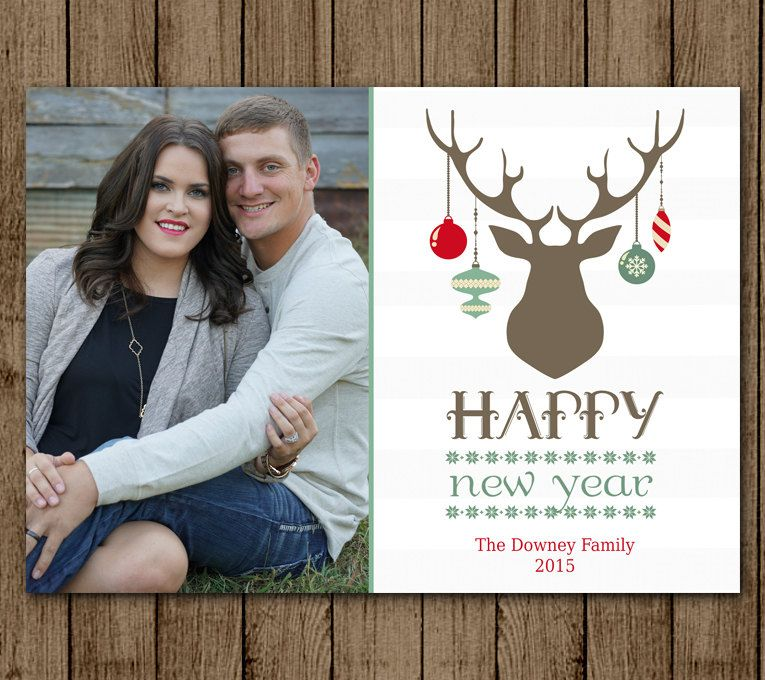 Customized Christmas Card with Photo, Deer, Ornament, Antlers ...