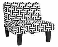 On Amazon!-Kebo Chair, Black and White Geometric Pattern with Dark Legs Multi Position Chair