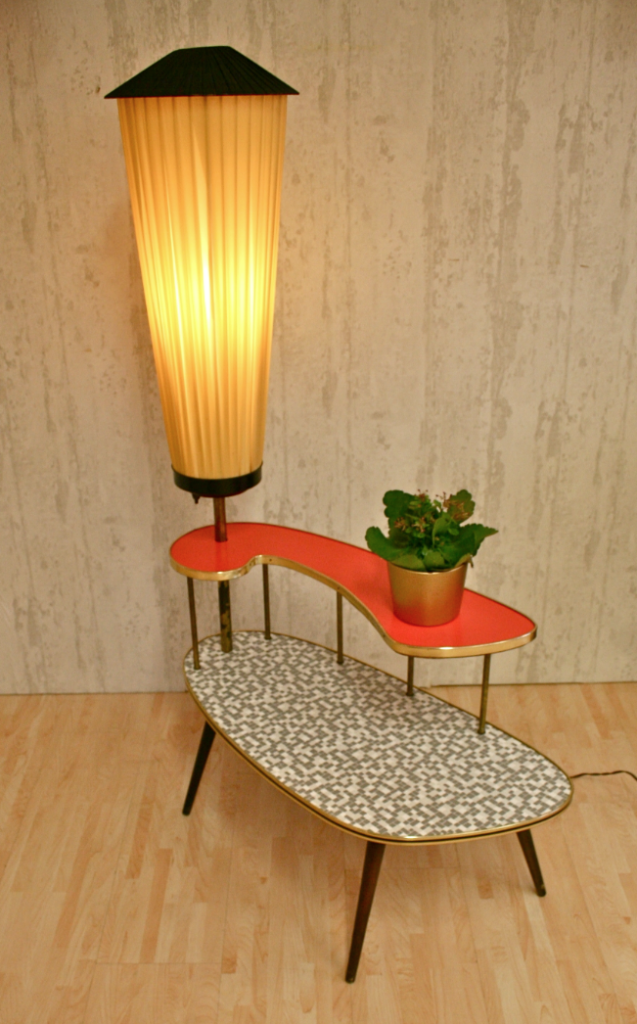 Amazing mid century modern plant table with built in lamp - Amazing Mid Century Modern Plant Table With Built In Lamp Mid