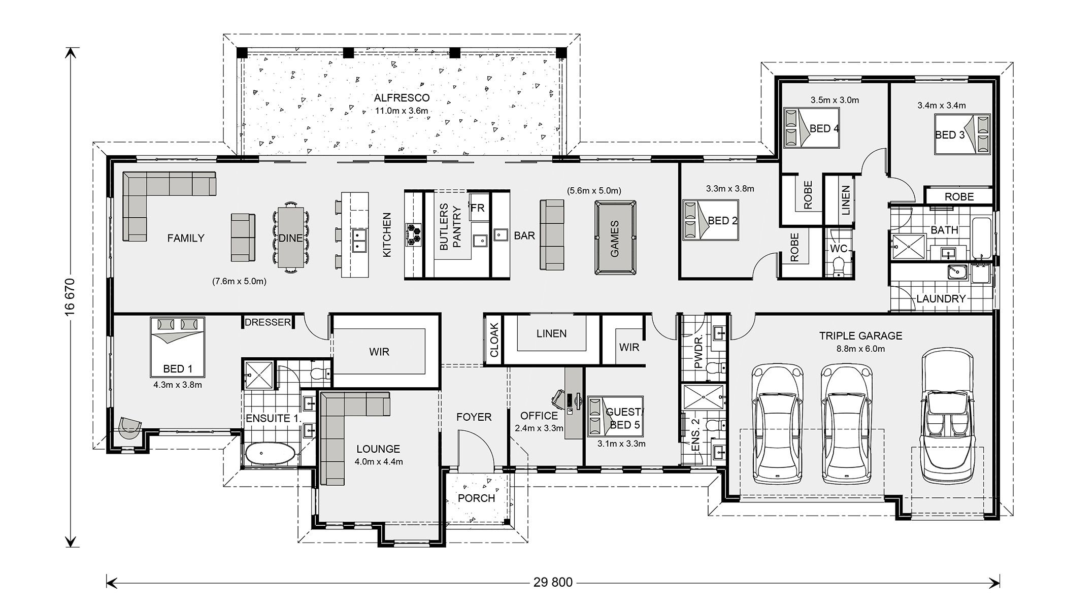 Floor Plan (With images) House plans australia, 5