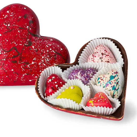 A chocolate heart box filled with chocolates? Yes, please.
