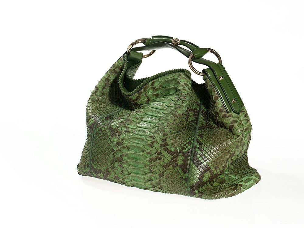 Green GUCCI Python Leather Horsebit Hobo Bag, Italy, 20th C | It's ...