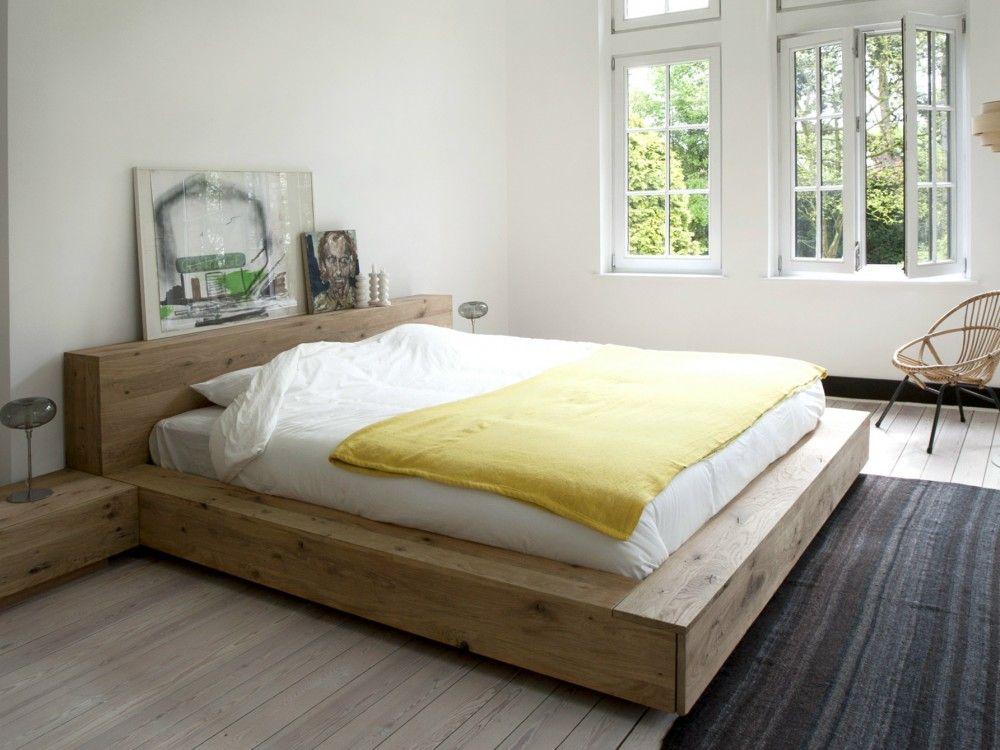 Resultado de imagen de cama roble y vestidor blanco