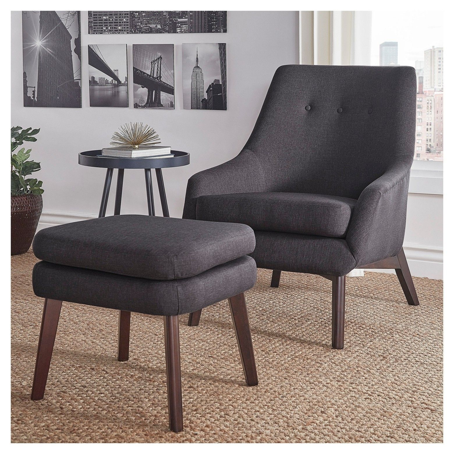Karlov Button Tufted Mid Century Accent Chair And Ottoman Set   Inspire Q®  : Target
