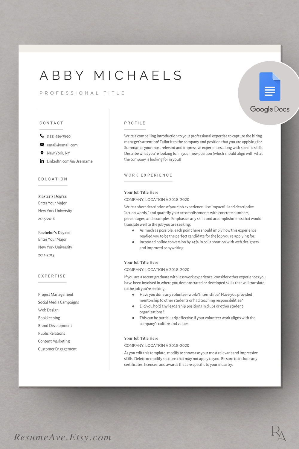 Modern Google Docs Resume Cv Template Nurse Resume Cv Design With Cover Letter Instant Download Executive Resume And Curriculum Vitae Resume Nursing Resume Template Executive Resume