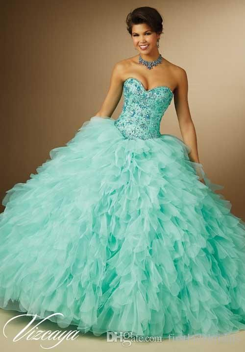 2b0dfc78653 2015 Wholesale Quinceanera Dresses Mint Green Ball Gowns Organza Sweetheart Ruffles  Beaded Crystals Unique Collection Princess Party Dress