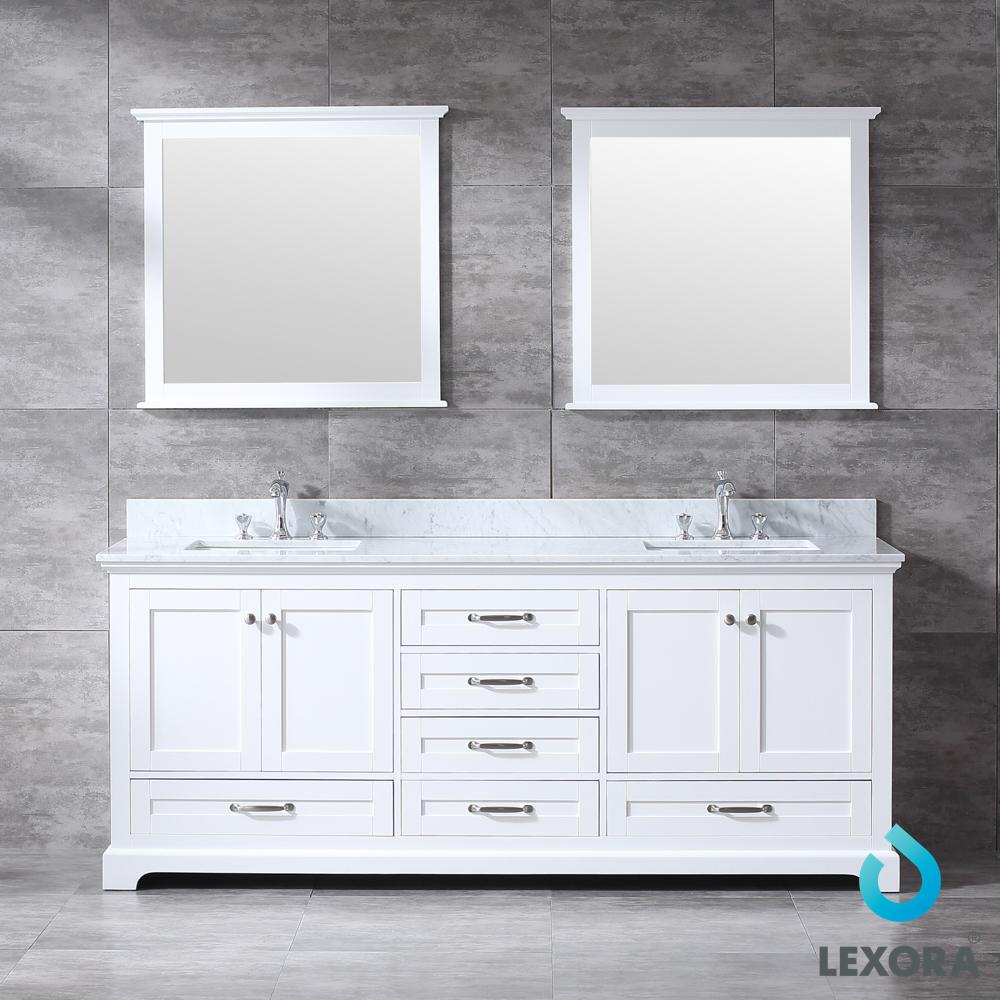 80 Inch Dukes Double Bathroom Vanity White Color With Mirror In