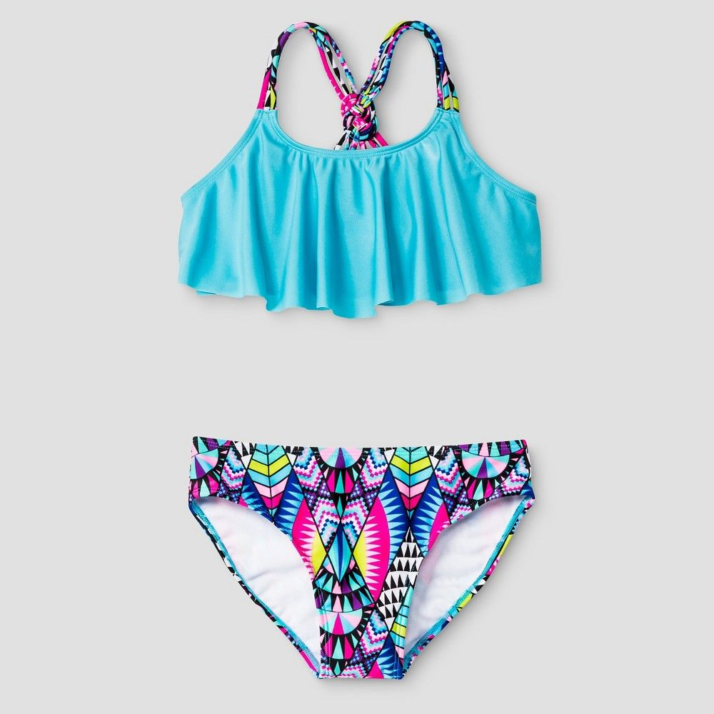 Girls Tribal Flounce Bikini Set Blue Xs Xhilaration Girl S