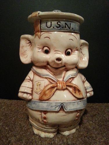 Vintage rare treasure craft usn elephant cookie jar crafts jars and cookie jars - Vintage elephant cookie jar ...