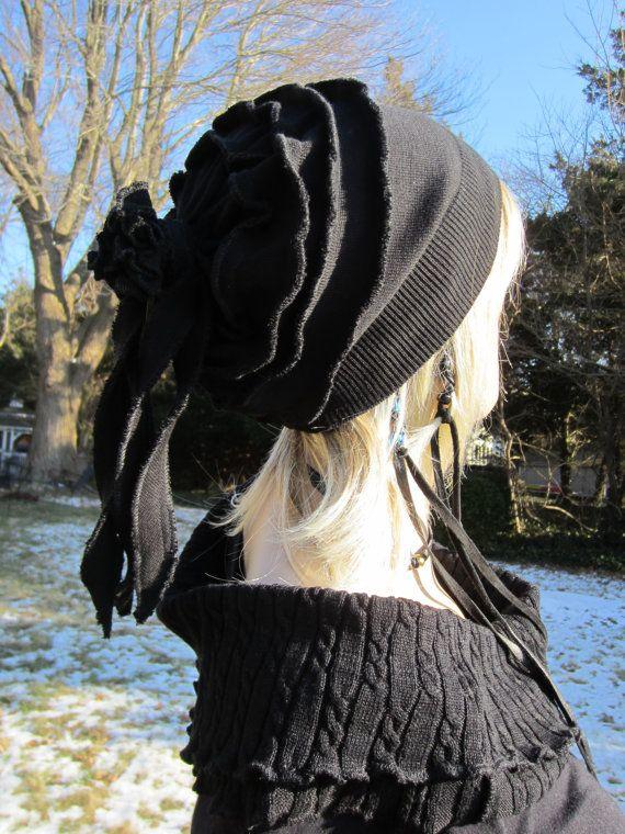 637ff9a0a7a69 Black Slouchy Beanie Hat Merino Wool Blend Womens Rose Rag Back ...