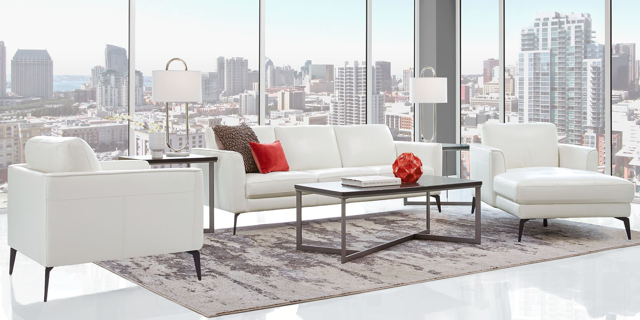 Sofia Vergara Brazil White 5 Pc Leather Living Room Rooms To Go Living Room Sets Furniture Furniture Living Room Leather
