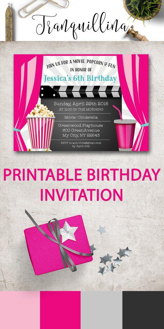 Birthday Invitations, Movie Party Invitation Printable, Movie ...
