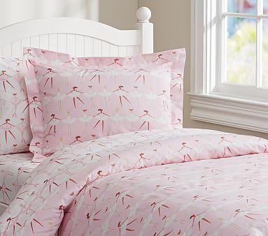 Ballerina Ballet Duvet Cover Set Dancer Girls Polka Dots Pink Kids Quilt Bedding