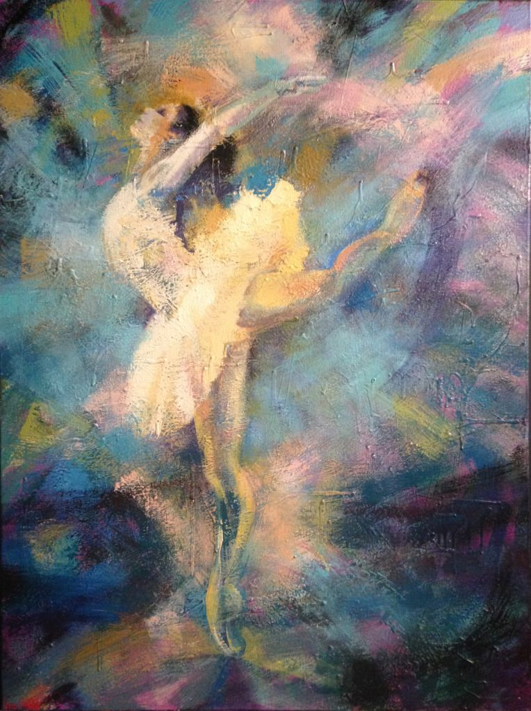 """Attitude In Blue"" painting by Mollie Walker Freeman, dance, fine art painting"