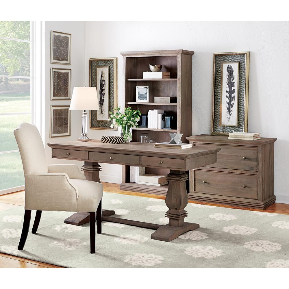 Home Decorators Collection Aldridge Antique Grey Desk With Keyboard Tray 9414700270 The Depot