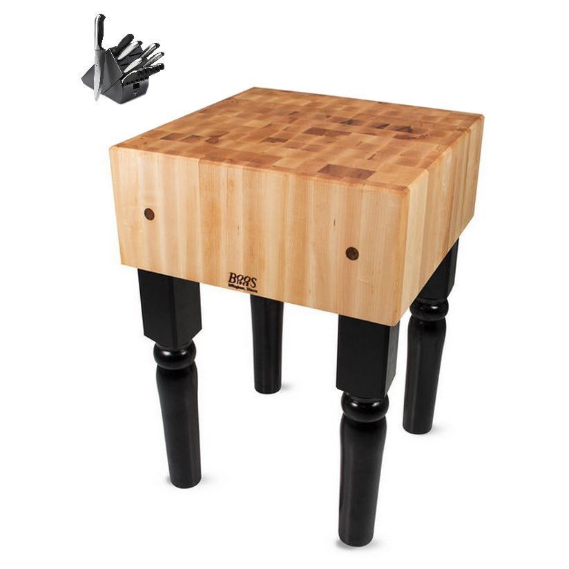 John Boos Black Butcher Block 24 X 24 Table With Casters And